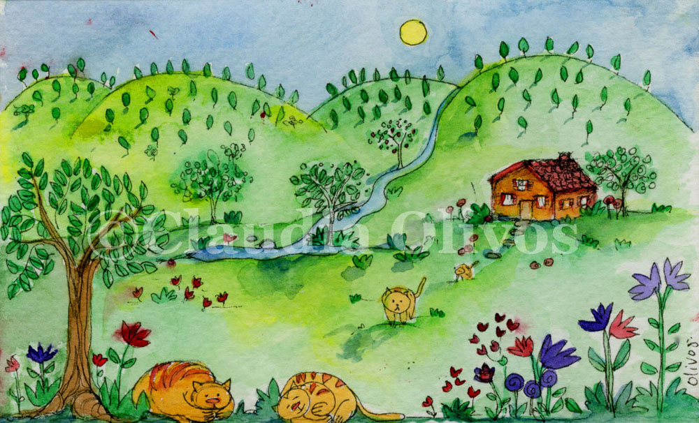 Landscape-With-Orange-Cats-Drawing