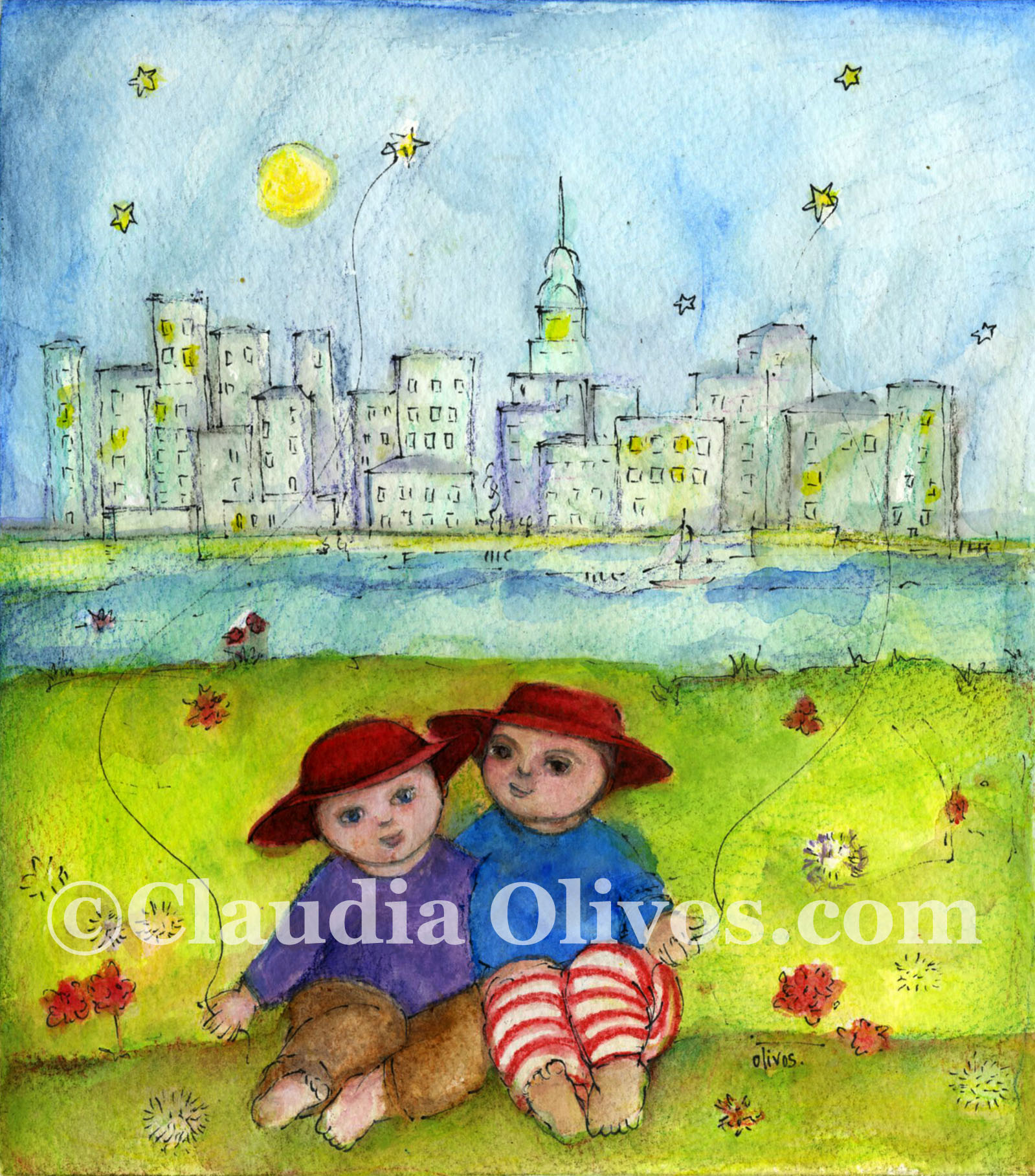 Two boys and New York Skyline